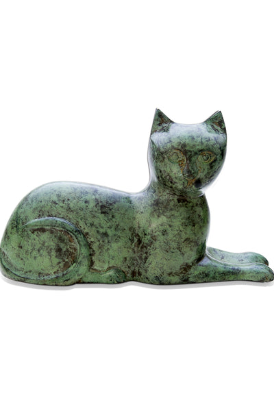 Cat Laying Urn - Green