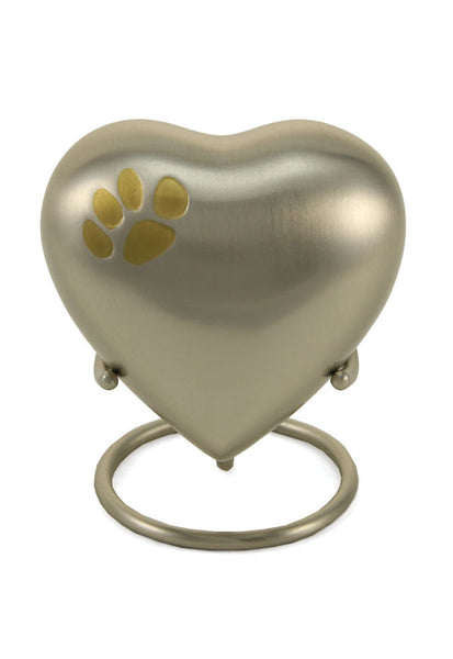 Keepsake Heart* - Classic Single Paw Pewter