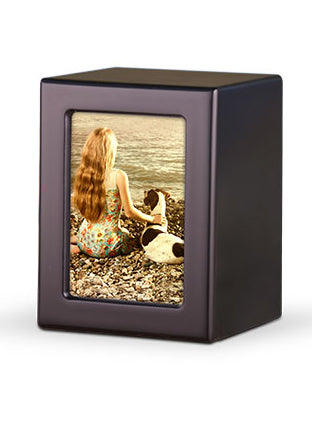 Wood Photo Urn - Black