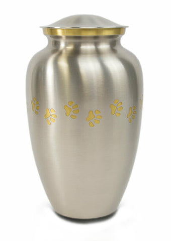 Classic Paw Print Urn- Pewter