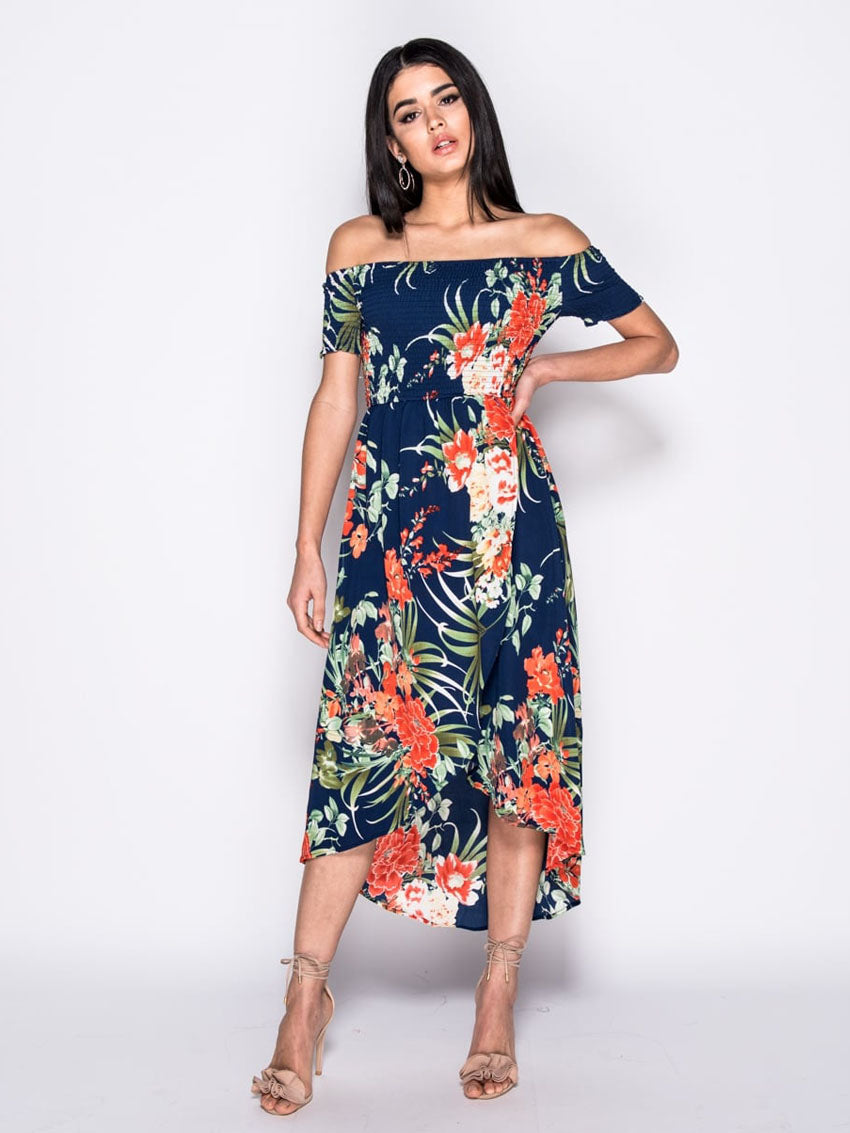 Image of   Blomstret Off Shoulder Midikjole