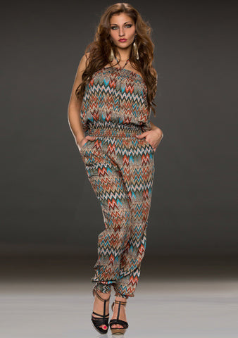 Aaliyah Tribal suit - Blå/Orange