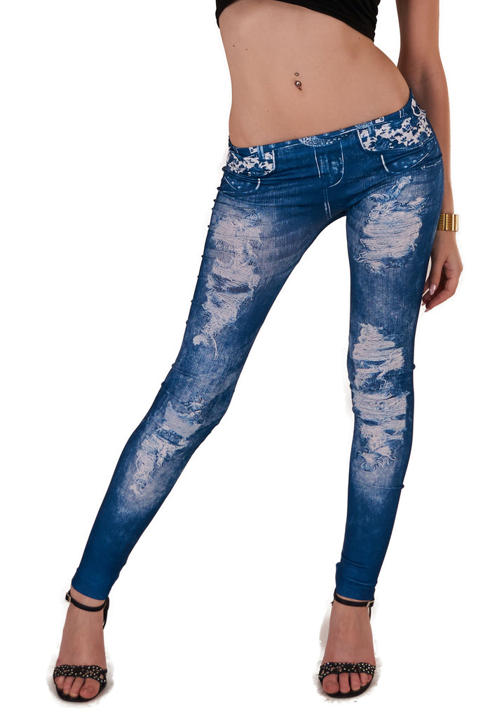 Denim legging lys med slid