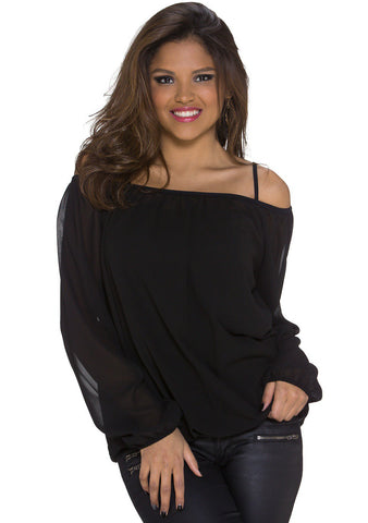 Ea Off-shoulder Chiffon Bluse - Sort