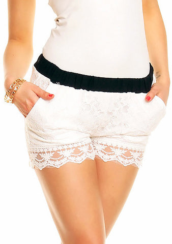 Emma Blonde Shorts - Hvid/Sort