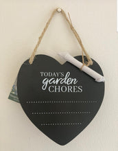 Load image into Gallery viewer, Garden potting shed blackboard hanging heart sign