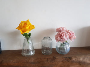 3 Cute clear glass bud vases, 3 different shapes perfect for a centre piece or along a fireplace ideal for fresh or artificial flowers