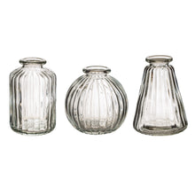 Load image into Gallery viewer, 3 Cute clear glass bud vases, 3 different shapes perfect for a centre piece or along a fireplace ideal for fresh or artificial flowers