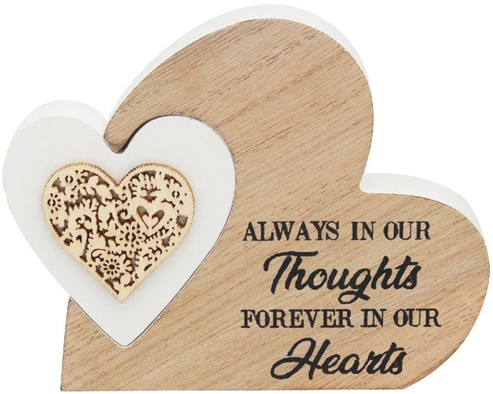 Sweet sentiments double wooden heart plaque - Always In Our Thoughts, Forever In Our Hearts, lovely gift, thoughtful ornament