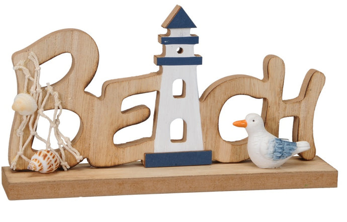 A wooden beach sign, coastal charm, a nautical delight for the home with seashells and seagulls