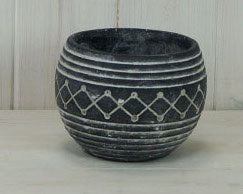 Black aztec bowl planter 13cm Modern pot, interior design, home decor, homewares