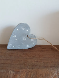Cement heart, winter themed, christmas decoration, festive hanging heart, snowflake design