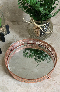 Copper Mirror Candle Plate 20cm, beautiful home decor