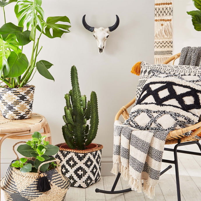 Scandi Boho blanket throw, cream & black, an instagram favourite! transform your room with this boho inspired aztec throw
