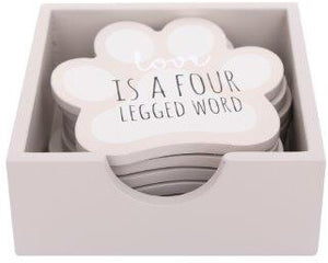 Dog paw coasters, set of 6 adorable coasters in neat box, fit for any dog lovers coffee table