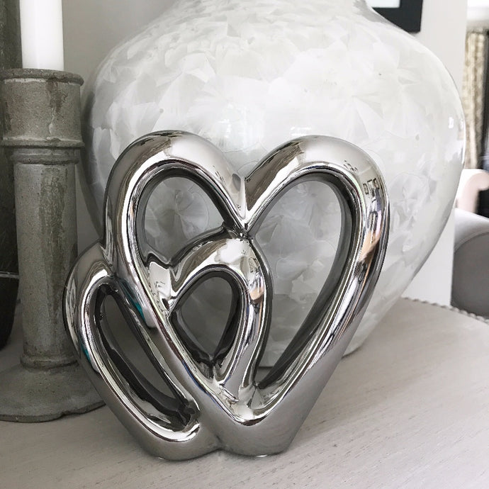 Double silver heart ornament, 15cm tall Modern simplicity