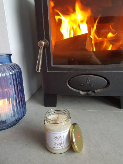 Soy wax Christmas Jar candle 'Merry & Bright' wooden wick