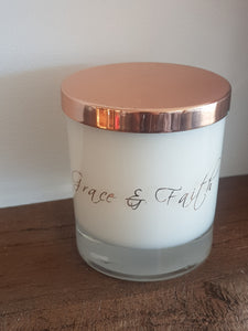 Beautiful clear glass eco soy candle with wooden wick + rose gold/copper lid - Highly scented