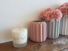 Load image into Gallery viewer, Beautiful clear glass eco soy candle with wooden wick + rose gold/copper lid - Highly scented