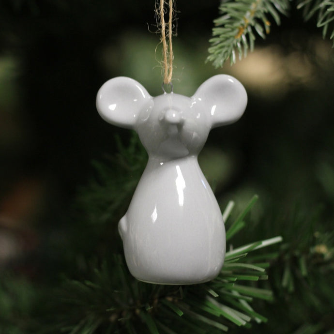 Little white or grey hanging mouse decoration