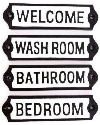 Room signs, cast iron Bathroom, Welcome, Washroom, Bedroom, quirky fun home signs