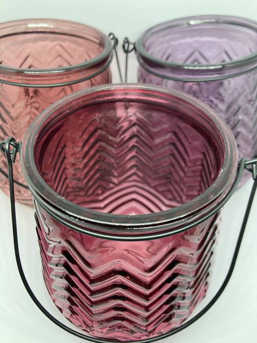Glass tea light holders, decorative vases, beautiful coloured glass light pink, dark pink & purple