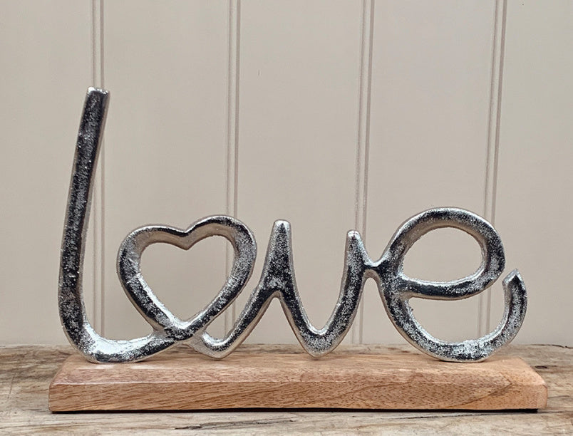 Love sign aluminium love ornament set in wooden base 30cm long