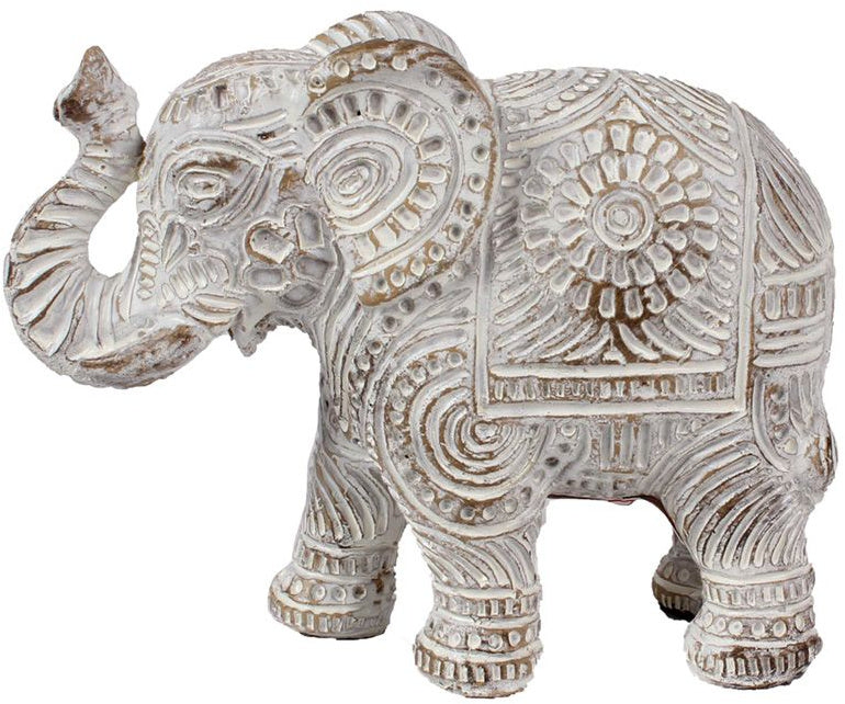 Brushed white mandala elephant ornament embossed with beautiful patterns and distressed charm