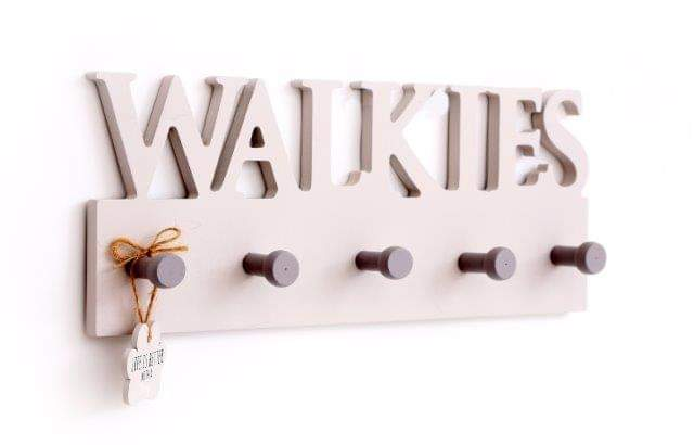 Walkies wooden hanger, perfect for leads and collars. Wall hanger includes 'life is better with a dog' paw shaped hanger