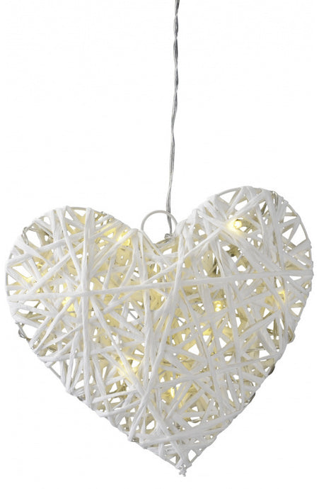 A shabby chic style wicker heart with LED lights and a timer, beautiful simplistic 20cm x 5cm