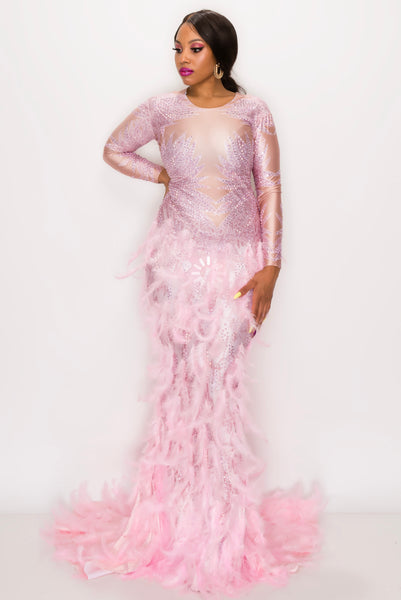 PINK FEATHER TAIL MAXI