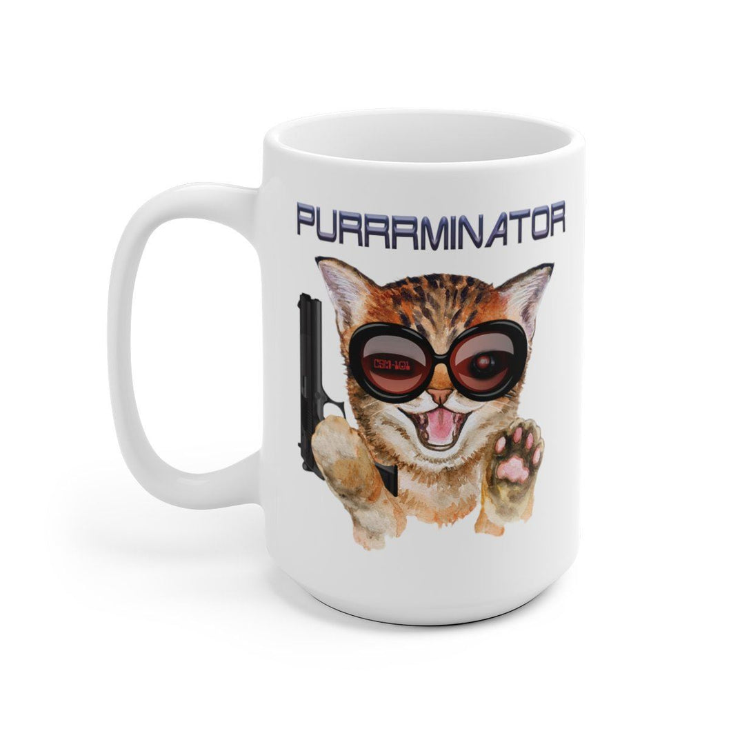 White 15oz Coffee Mug: Purrrminator Mug Printify 15oz