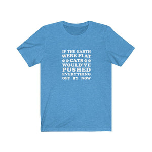 T-Shirt: If The Earth Were Flat Cats Would've Pushed Everything Off By Now T-Shirt Printify Heather Columbia Blue S