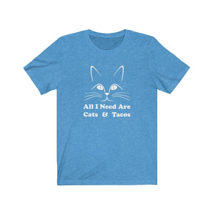 T-Shirt: All I Need Are Cats & Tacos T-Shirt Printify Heather Columbia Blue S