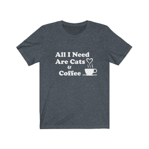 T-Shirt: All I Need Are Cats & Coffee T-Shirt Printify Heather Navy XS