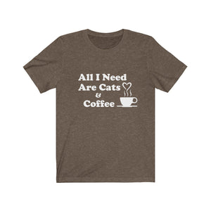 T-Shirt: All I Need Are Cats & Coffee T-Shirt Printify Heather Brown XS