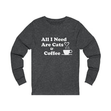 Load image into Gallery viewer, Long Sleeve T-Shirt: All I Need Are Cats & Coffee Long-sleeve Printify Dark Grey Heather S