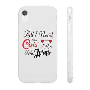 Flexi iPhone & Galaxy Phone Cases: All I Need Are Cats & Jesus Phone Case Printify iPhone XR