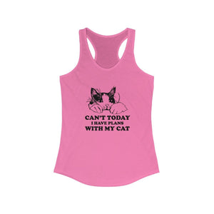 Women's Racerback Tank: Can't Today I Have Plans With My Cat Tank Top Printify Solid Hot Pink XS