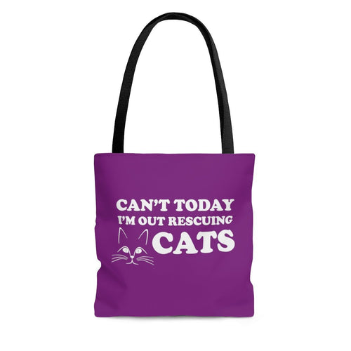 Reusable Tote Bag: Can't Today I'm Out Rescuing Cats Bags Printify Large