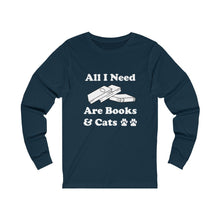Load image into Gallery viewer, Long Sleeve T-Shirt: All I Need Are Books & Cats Long-sleeve Printify Navy S