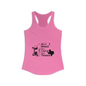 Women's Racerback Tank: All I Need Are Cats And Texas Tank Top Printify Solid Hot Pink XS