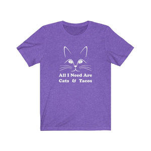 T-Shirt: All I Need Are Cats & Tacos T-Shirt Printify Heather Team Purple S