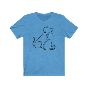 T-Shirt: Cat and Dog T-Shirt Printify Heather Columbia Blue XS