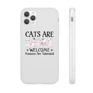 Flexi iPhone & Galaxy Phone Cases: Cats Are Welcome Humans Are Tolerated Phone Case Printify iPhone 11 Pro Max