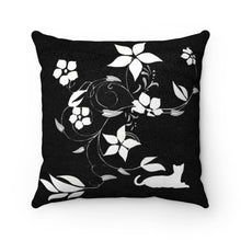 Load image into Gallery viewer, Faux Suede Square Pillow: Flower Cat Home Decor Printify