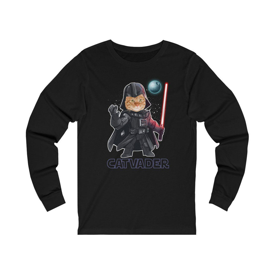 Long Sleeve T-Shirt: Cat Vader Long-sleeve Printify Black L