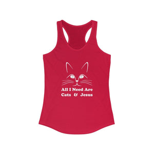 Women's Racerback Tank: All I Need Are Cats & Jesus Tank Top Printify Solid Red XS