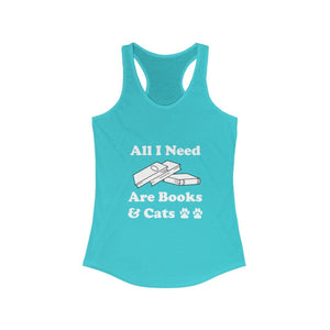 Women's Racerback Tank: All I Need Are Books & Cats Tank Top Printify Solid Tahiti Blue XS