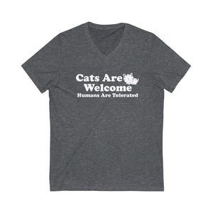 V-Neck T-Shirt: Cat Are Welcome Humans Are Tolerated V-neck Printify Dark Grey Heather L